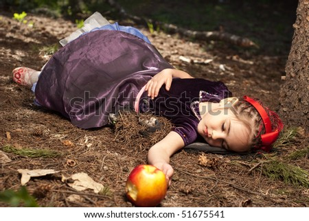 snow white little girl 5 years old - stock photo