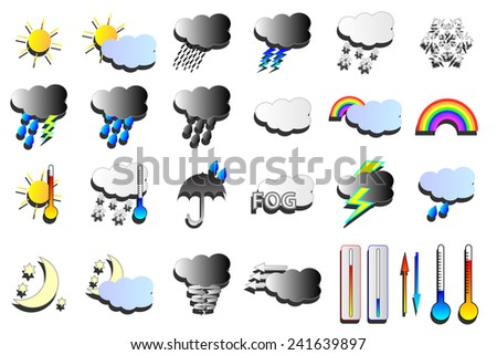 Snow, wind and rain weather map icons.  - stock photo