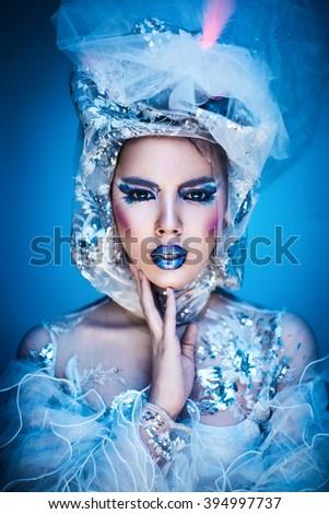 snow woman - stock photo
