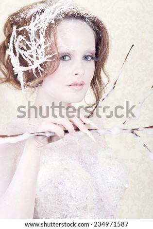 Snow woman princess  - stock photo