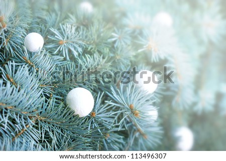 Snowball on christmas tree - Merry Christmas - stock photo