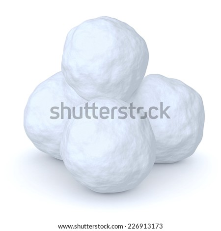 Snowballs heap isolated on white background - stock photo