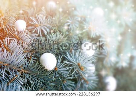 Snowballs on Christmas tree  - stock photo