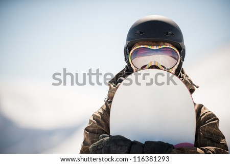 snowboard and ���  snowboarder. extreme winter sport - stock photo