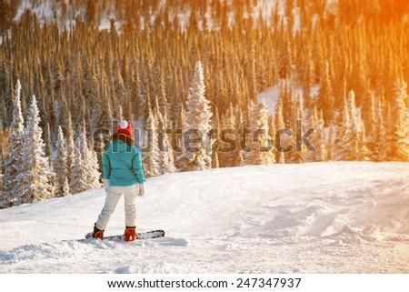 snowboard girl - stock photo