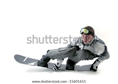 Snowboarder flexing board and posing for camera, isolated - stock photo