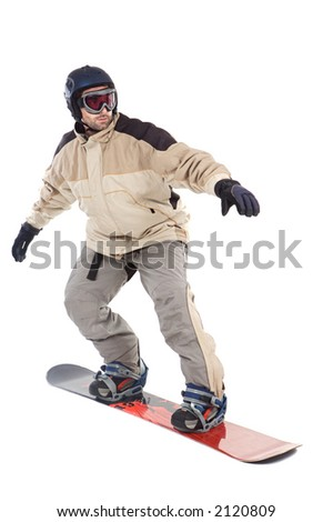 SNOWBOARDER FLY ISOLATED - stock photo