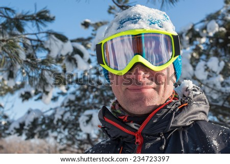 Snowboarder is happy to first snow - stock photo