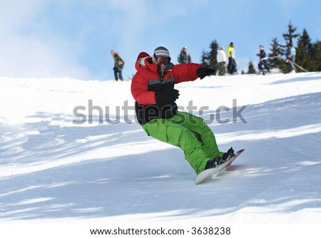 Snowboarder on snow ski slope. Winter sport lifestyle concept - stock photo