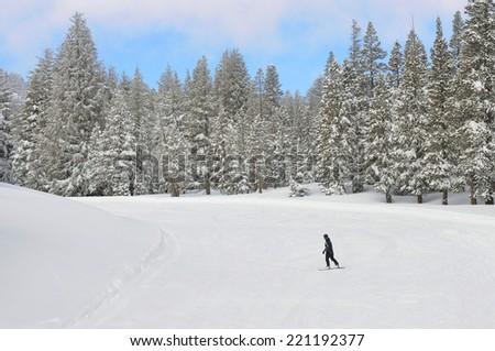Snowboarder on the ski slope - stock photo