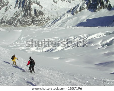 Snowboarder on the Vallee Blanche - stock photo