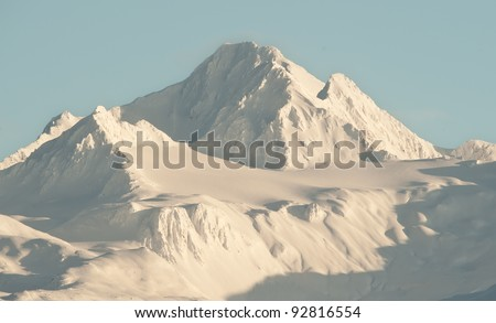 Snowcovered Mountains in  Alaska. Alaska Chilkat Bald Eagle Preserve. Alaska. USA - stock photo