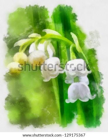 snowdrops,watercolor - stock photo