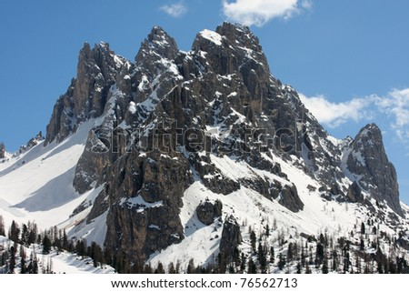 snowed mountains at the italy dolomites - stock photo