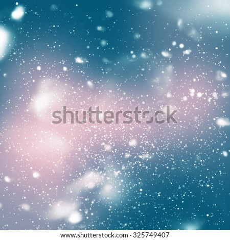 Snowfall from Blue Sky, Digital Drawing. Pink, Blue colors - stock photo