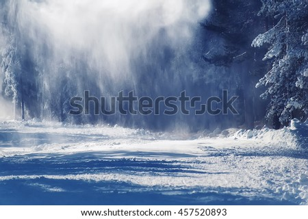 snowfall in the deep forest. natural  winter background - stock photo