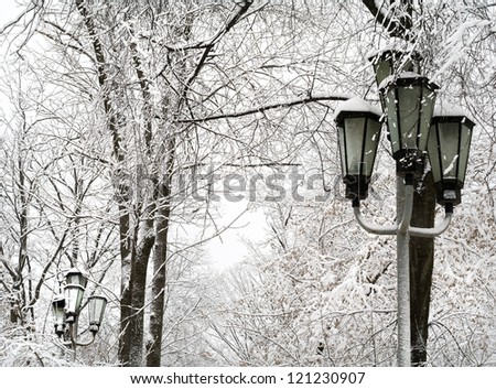 snowfall in the town - stock photo