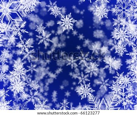 Snowflake Background A raster illustration of a snowflake background with the illusion of depth. Horizontal. - stock photo