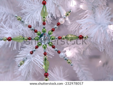 snowflake christmas ornament  - stock photo