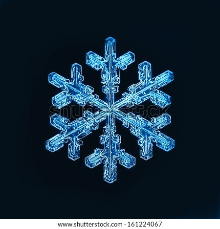 snowflake isolated natural crystal - stock photo