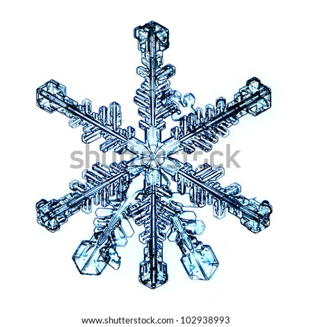 snowflake isolated on white background - stock photo