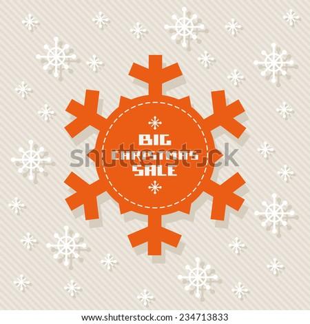 Snowflake tag - Christmas sale. Winter vintage background. Decorative illustration for print, web - stock photo