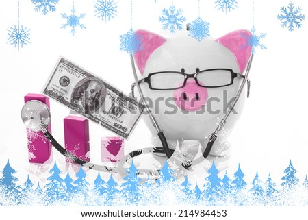 Snowflakes and fir trees against pink and white piggy bank wearing glasses and stethoscope - stock photo