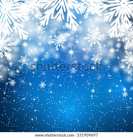 Snowflakes background with falling snow. Christmas Background. - stock photo