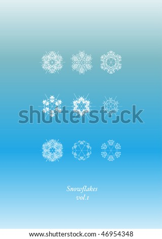 Snowflakes Icon Set - stock photo