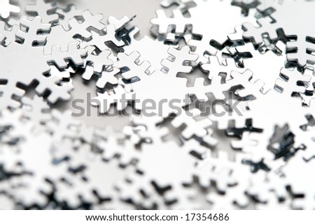 snowflakes macro close up christmas background - stock photo