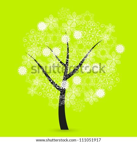 snowflakes tree - stock photo