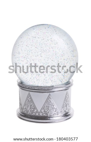 Snowglobe cutout, isolated on white background - stock photo