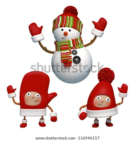 snowman and friends - stock photo