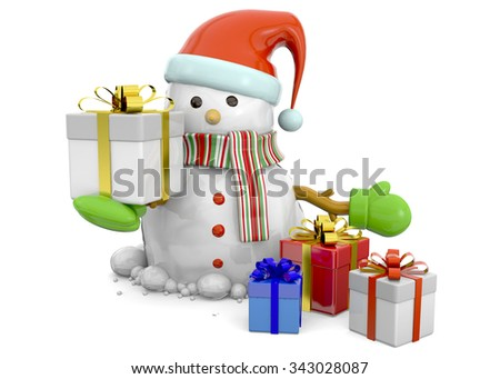 Snowman and Gift - 3D - stock photo