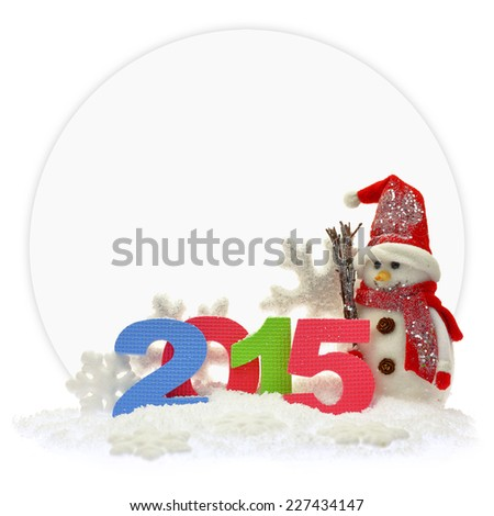 Snowman and new year 2015 in front of a paper card  - stock photo