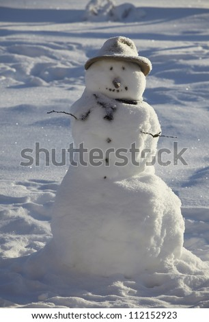 Snowman, close-up - stock photo
