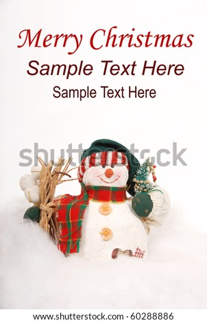 Snowman decoration with copy space - stock photo