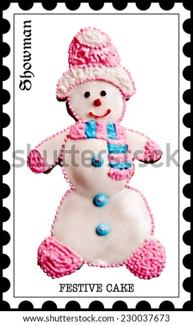 Snowman,Festive cake.Merry Christmas.Happy New Year!Postage stamps.Image on white background. - stock photo