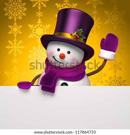 snowman gold banner - stock photo