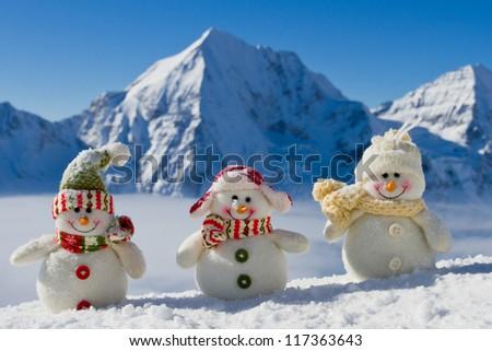 Snowman - happy winter friends - stock photo