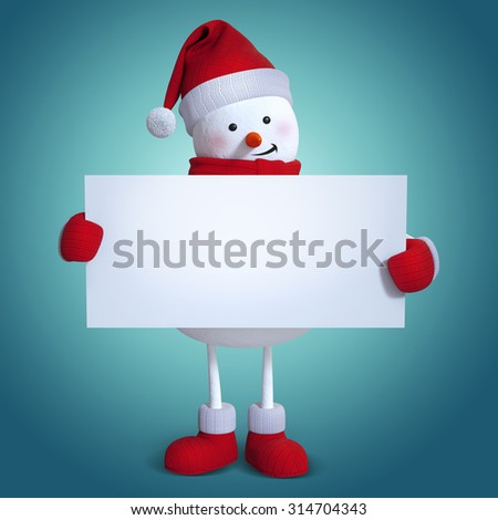 snowman holding blank card banner, copy space, blue holiday background, 3d illustration - stock photo