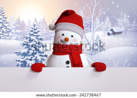 snowman holding blank card, winter landscape, snowy forest background, Happy New Year or Christmas greeting card - stock photo
