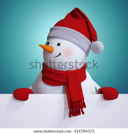 snowman holding blank Christmas card, blue holiday background, new year banner, 3d illustration - stock photo