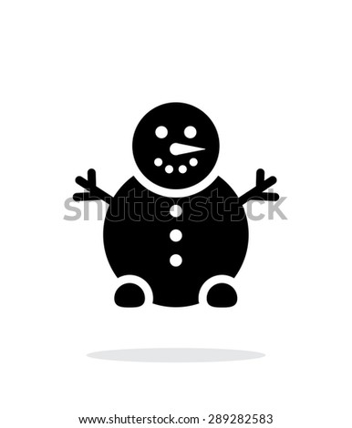 Snowman icon on white background. - stock photo