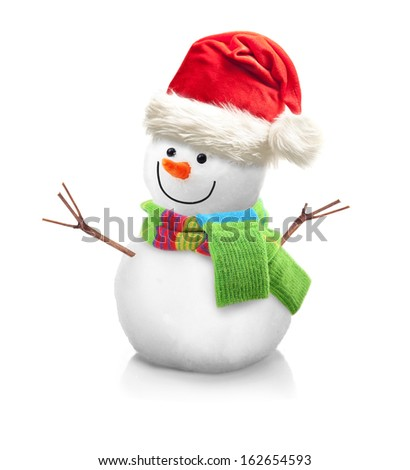 Snowman in Santa Claus xmas red hat  isolated on white background. - stock photo