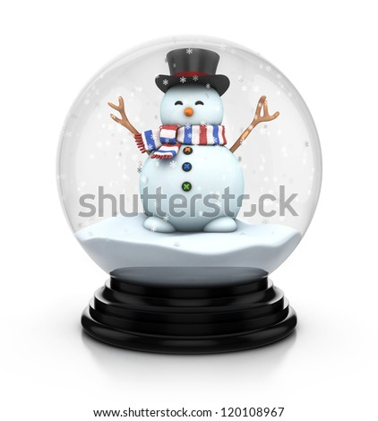 snowman in snow dome 3d illustration - stock photo