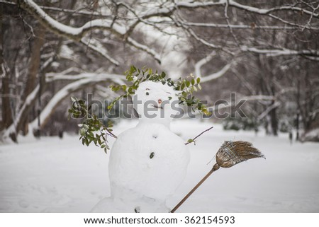 Snowman in the winter park - stock photo