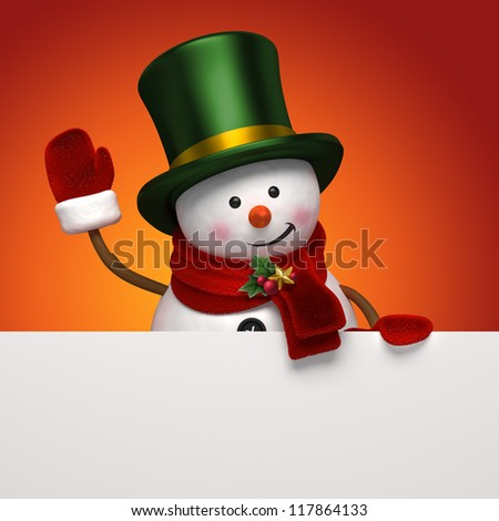 snowman in top hat - stock photo
