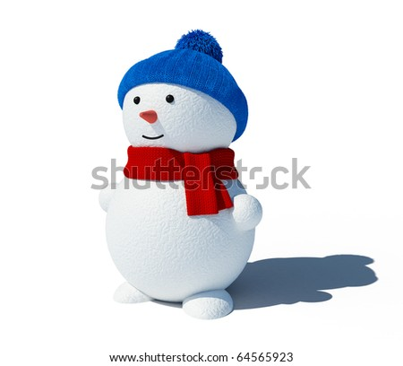 Snowman isolated on white - stock photo