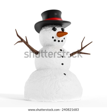 Snowman isolated on white background. - stock photo